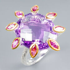 Vintage26ct+ Natural Amethyst 925 Sterling Silver Ring Size 8/R119898