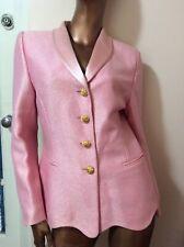 Escada Couture Beautiful Pink Skirt Suit Textured Golden Buttons 38 4 6 New