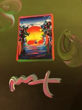 """Peter Max, """"A BETTER WORLD"""" Mixed Media Signed Overpaint Painting"""