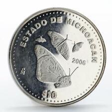 Mexico 10 pesos Michoacan butterflies II edition proof silver coin 2006