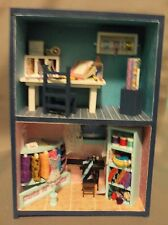 Dollhouse Miniature Craft Room/Sewing Roombox scenario as a Bookend