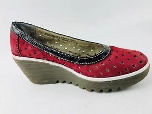 Fly London Women's Wedge Heel Hot Pink Shoes Size US.6.5 UK.37 EU.4.5
