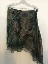 WDNY Size 8 Asymmetrical 100% Silk Skirt Peacock Feather Print