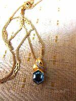 Estate 14k Yellow Gold Blue Topaz And Diamond Pendant And Unique Chan