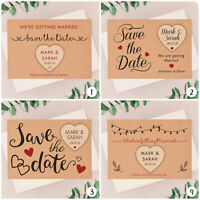 PERSONALISED Save The Date Cards Kraft Wedding Wooden Heart Fridge Magnets Boho