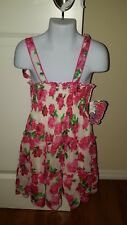 NWT UNIK Girl's Size 6 Floral Rose Dress - Stretchy top material Beautiful Dress