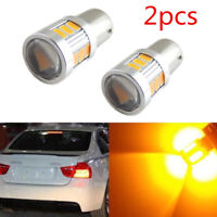 New 2pcs Error Free Yellow 18SMD BAU15S 7507 LED Bulb For Car Turn Signal Lights