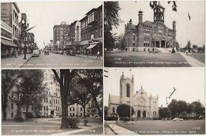 Fond Du Lac Wisconsin USA lot of 7 Postcard Views 4 RP's & 3 Printed Pre 1950