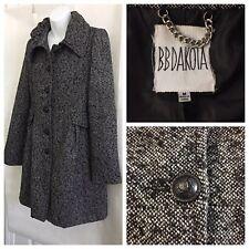 BB Dakota Women's Peplum Coat Size M Wool Blend Black/White Textured Weave Lined