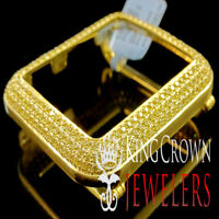 10K REAL YELLOW GOLD ON SILVER CANARY APPLE WATCH BEZEL SERIES # 2 DIAMOND CASE