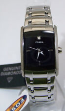 Fossil Womens Dress Watch Black with Diamond Ladies SS Regis Wristwatch New