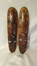 """Pair of Carved Wooden Tribal Faces / Masks - Wall Mount Decor - Oblong 15"""" x 3"""""""