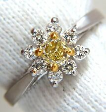 $4200 .60CT NATURAL FANCY YELLOW DIAMOND RING 14KT PETITE CLUSTER
