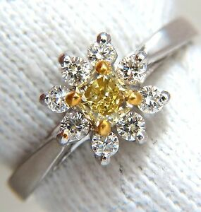 .60CT NATURAL FANCY YELLOW DIAMOND RING 14KT PETITE CLUSTER+