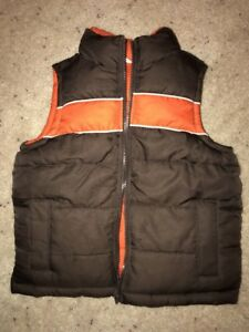 Old Navy Boys Puffy Vest Sz XS 5 Reversible Brown Orange Snap Zipper GUC