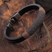 New Surfer Men's Vintage Hemp Wrap Leather Wristband Bracelet Cuff Black Brown