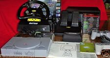 VINTAGE SONY PLAYSTATION 1 -RACING WHEEL-FOOT PEDAL- 15 GAMES &CASE-MEMORY CARDS
