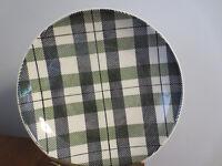 "4 VINTAGE HOMER LAUGHLIN DURA PRINT BLACK & GREEN PLAID 8 1/4"" SALAD BOWLS PLATE"