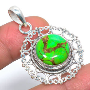 """Copper Mohave Green Turquoise Wired Work 925 Sterling Silver Pendant 1.7"""" T8637"""