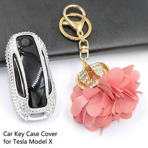 Luxury Car Key Case Cover with Crystal Rhinestone for Tesla Model X for Ladies