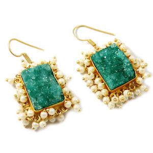 "Blue Titanium Druzy Unique Design Gold Plated Jewelry Fashion Earring 1.5"" B175"