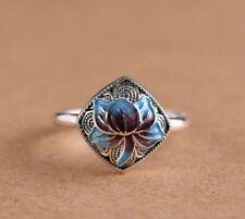 925 Sterling Silver Blue Enamel Lotus Flower Adjustable Wrap Ring Statement
