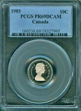 1985 CANADA 10 CENTS PCGS PR69DCAM COIN IN HIGH GRADE NONE GRADED HIGHER