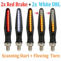 4X Motorcycle 24-LED Turn Signal Indicators Flowing Water Light Amber Blinker