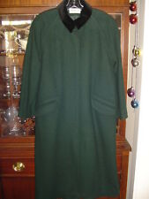 Ladies Coat Preston York Wool 8 Petite Vtg 90s Green Black Velvet Accents