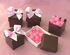 """Chocolate Brown Square Cube 2"""" Wedding Favor Boxes with Lids 12/pk"""