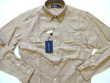 New Ralph Lauren Polo 100% Cotton Light Brown Khaki Plaid Button Up Shirt L