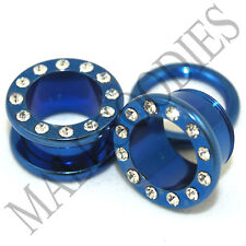 "0892 Blue Screw-on CZ Tunnels 9/16"" Inch Ear Plugs 14mm"