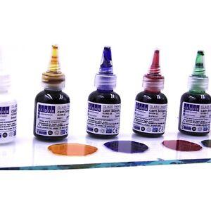 6x25 ml Glasmalerei-Set. Glasmalfarben Schnelltrocknend Vitrail Konturenfarben