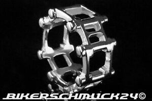 Bikerschmuck Ring im Ketten Look Edelstahl silber Biker Herren Männer Geschenk