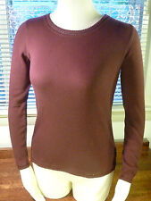 Laura Ashley Brown Cotton Crew Neck Long Sleeve Shirt Size S