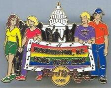 Hard Rock Cafe WASHINGTON DC 2008 GAY PRIDE PIN Rainbow Banner Marchers  #43672