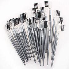 60 Pcs 2 in1 Brush Comb  Duo Cosmetic Makeup Extension Lash Eyelash Eyebrow Tool