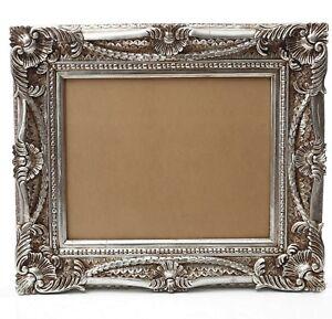 Bilderrahmen 40x50 cm Silber Rokoko Prunk Barock Rahmen Shabby Antik Gemälde