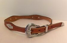 Gil's Boots Brown Southwestern Cowgirl Flower Concho Leather Belt 24