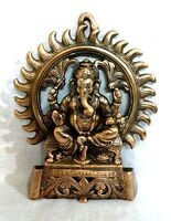 Hindu God Ganesha Statue Wall Hanging Ganesh Panel God Antique Metal Sculpture