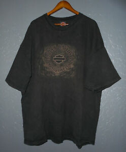 HARLEY DAVIDSON Motorcycle T-Shirt GILLETTE WY Vtg BLACK Biker USA Mens 4XL