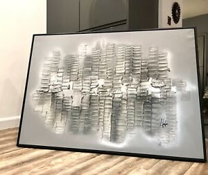 UK ARTIST Ex ShowHome Canvas Abstract Painting Art Grey Silver Black Frame HUGE