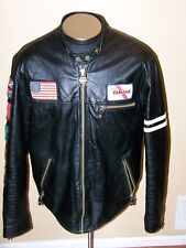 Wilson's Leather Vintage Yamaha Black Motorcycle Jacket  size XL M. Julian Flags