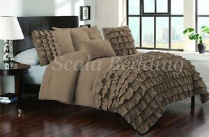 5 Piece Half Ruffle Duvet Cover Set 1000-TC Egyptian Cotton Twin Size all Colors