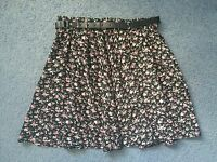 Quirky Circus Black Red Burgundy Pink Floral Chiffon Skirt With Belt Size 8 10