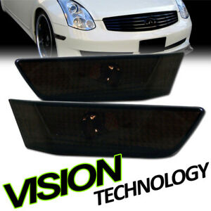 For 03-07 Infiniti G35 2D 2Dr Coupe Smoke Front Bumper Side Marker Light Lamp k2