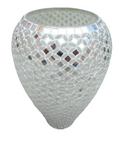 Vase In Mirror Silver Mosaic, Vase for Living Room (Express Delivery)