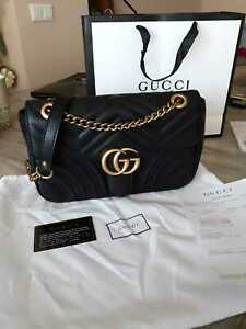 %^Gucci GG Small Marmont Black Matelasse Shoulder Bag woman
