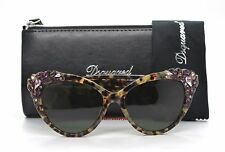 Dsquared2 Elizabeth DQ 168 55N Sunglasses Havana Brown Frame Green Lenses 56mm