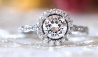 1.85 Ct Moissanite Brilliant Cut Antique Halo Engagement Ring In 9K White Gold